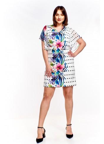 Sukienka we wzory z rękawem a'la motyl Plus Size