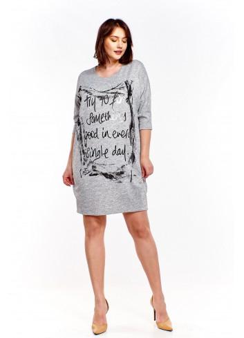 Melanżowa sukienka z nadrukiem Plus Size