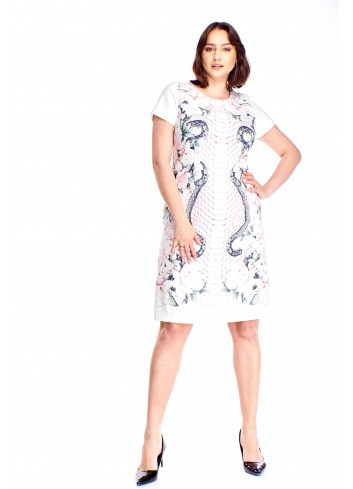 Ołówkowa sukienka w oryginalny wzór Plus Size