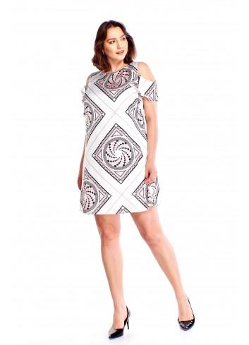 Wzorzysta sukienka z wycięciami na ramionach Plus Size