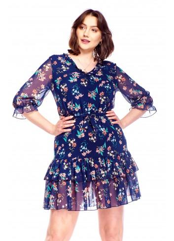 Sukienka z falbanami Plus Size