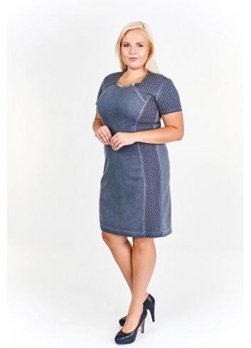 Taliowana sukienka z ozdobnym dekoltem Plus Size