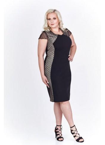 Elegancka sukienka z wstawkami po bokach Plus Size