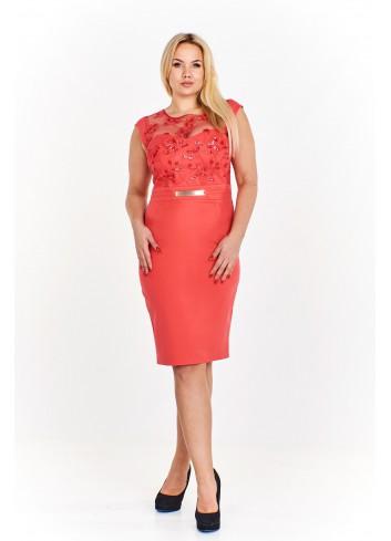 Ołówkowa sukienka z wyszywaną górą ozdobioną cekinami i przejrzystą wstawką na dekolcie