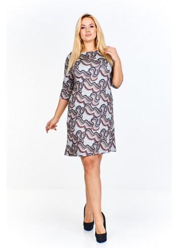 Melanżowa sukienka we wzory o lekko trapezowym kroju Plus Size