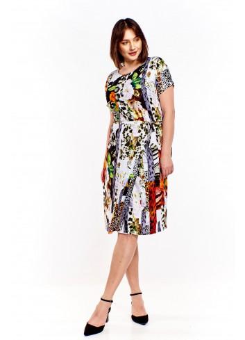 Wzorzysta sukienka z wiązanym paskiem Plus Size