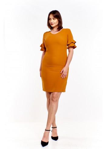 Ołówkowa sukienka z falbaniastymi rękawami Plus Size