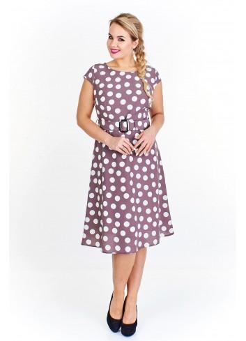 Rozkloszowana sukienka w grochy Plus Size