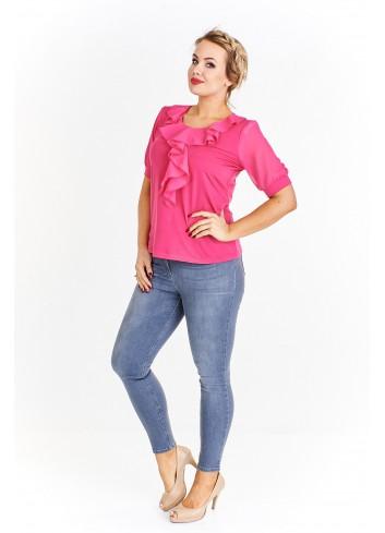 Delikatna bluzka z krótkim rękawem ozdobiona falbanką Plus Size