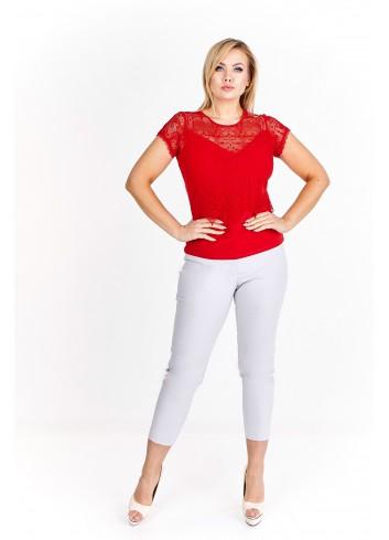Dwuwarstwowa bluzka z ażurową narzutką Plus Size