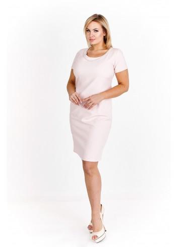 Sukienka pudełkowa wykończona perełkami Plus Size