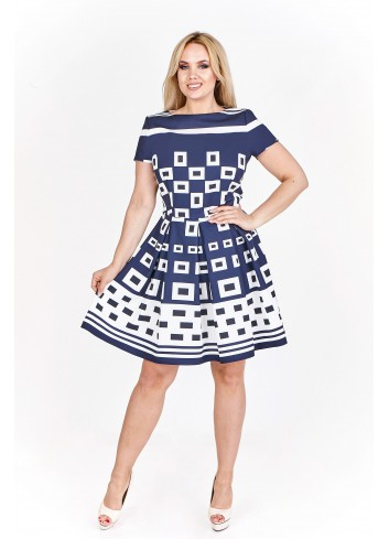 Sukienka koktajlowa w geometryczny wzór