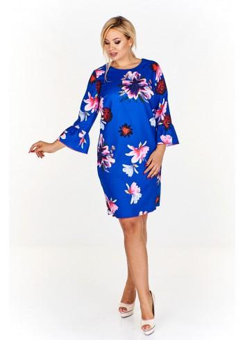 Sukienka w kwiatowy wzór z rozkloszowanymi rękawami Plus Size