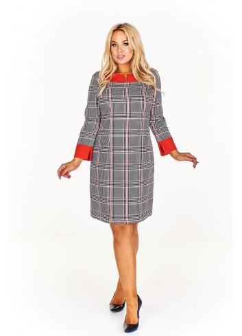 Sukienka w kratkę z kontrastującym wykończeniem Plus Size