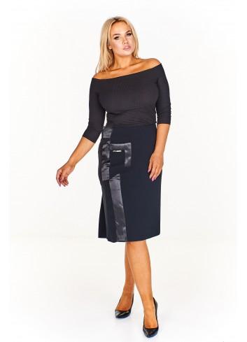 Elegancka spódnica z atłasowymi wstawkami