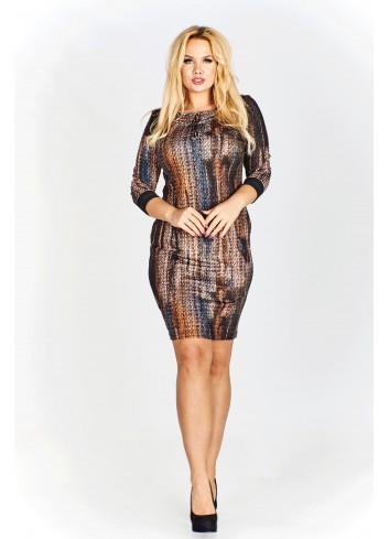 Sukienka z połyskującą nitką i rękawem 3/4 z mankietem Plus Size