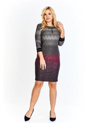 Wzorzysta sukienka z troczkami przy dekolcie Plus Size