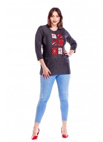 Sweter z oryginalnym wzorem Plus Size
