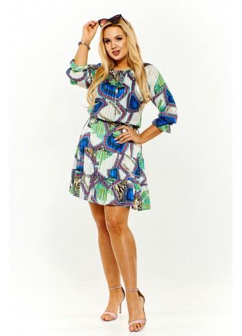 Wzorzysta sukienka letnia z drobnym plisowaniem Plus Size