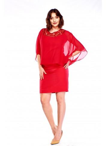 Sukienka z ażurową wstawką u góry Plus Size