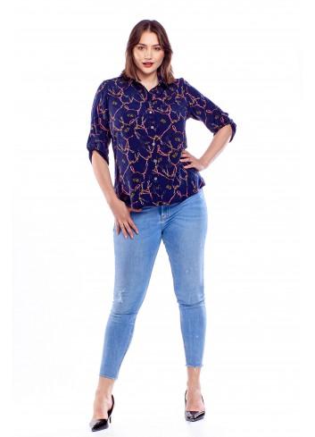 Koszulowa bluzka we wzory Plus Size