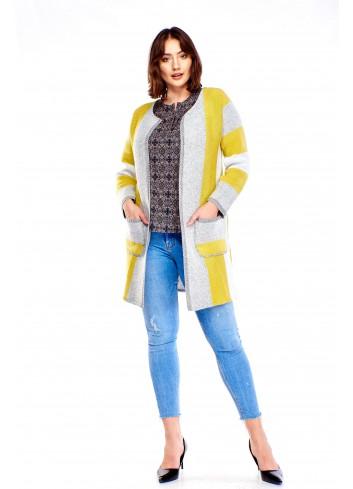 Dłuższy sweter w pasy Plus Size