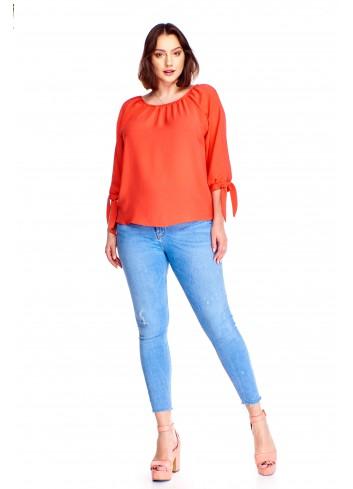 Monochromatyczna bluzka z wiązanymi rękawami Plus Size