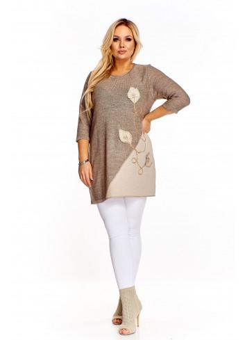 Dłuższy sweter z wyszywanym wzorem Plus Size