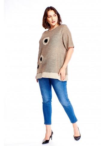 Tunika z wyszywanym wzorem Plus Size