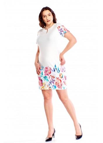 Ołówkowa sukienka z wykończeniem w kwiaty Plus Size