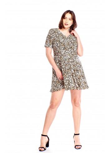 Rozkloszowana sukienka w zwierzęcy wzór Plus Size
