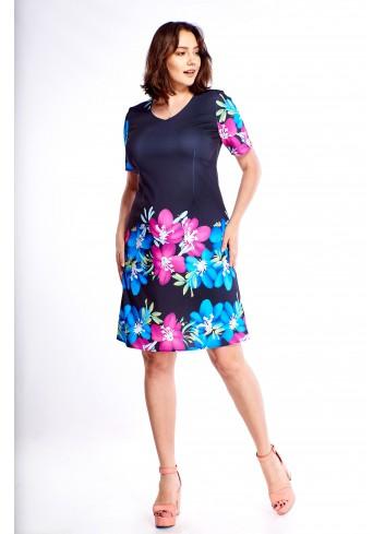 Pudełkowa sukienka w kwiatowy wzór Plus Size