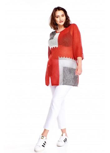 Sweter z kolorowymi wstawkami Plus Size