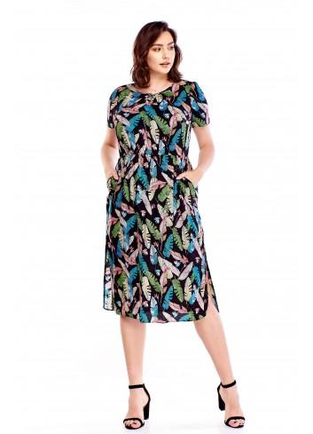 Wzorzysta sukienka z rozporkami Plus Size