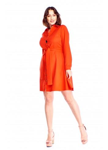 Rozkloszowana sukienka z paskiem Plus Size