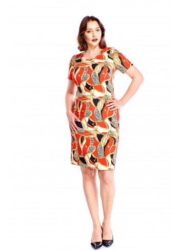 Ołowkowa sukienka w oryginalny wzór Plus Size