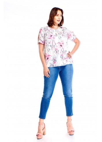 Wzorzysta bluzka z rozciętymi rękawami Plus Size