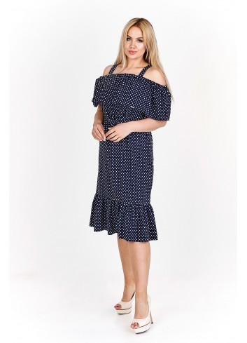 Trapezowa sukienka midi z hiszpańskim dekoltem Plus Size