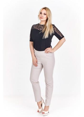 Dopasowane, monochromatyczne spodnie Plus Size