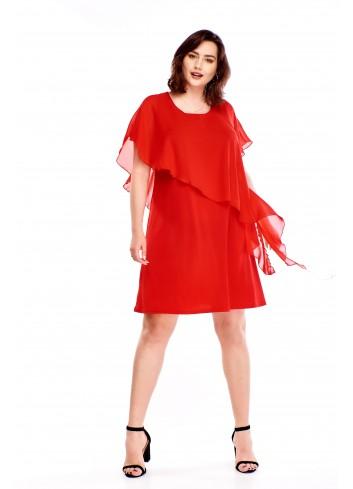 Sukienka z asymetryczną narzutką Plus Size