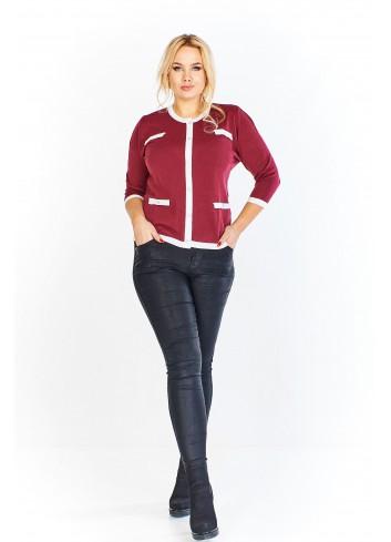 Sweter z kontrastującymi wstawkami z rękawem 3/4 Plus Size