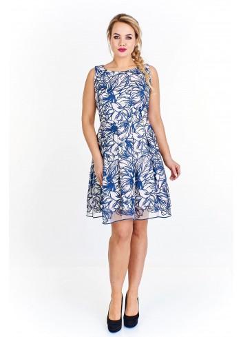 Koktajlowa sukienka z kontrafałdami Plus Size