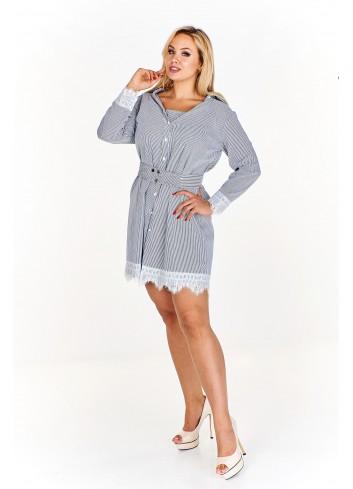 Koszulowa sukienka w paski z koronkowym wykończeniem Plus Size