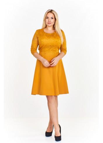 Sukienka z dopasowaną koronkową górą i swobodnym lekko rozkloszowanym dołem wiązana w pasie