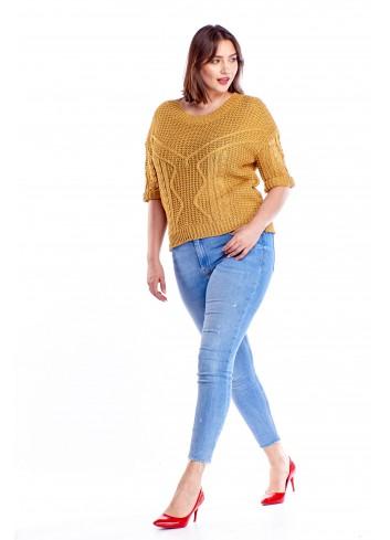 Oversiz'owy sweter z rękawem 3/4 Plus Size