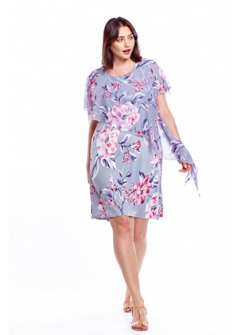 Sukienka w kwiaty z asymetryczną narzutką Plus Size