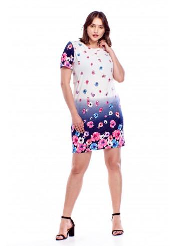 Prosta sukienka w kwiatowy wzór Plus Size