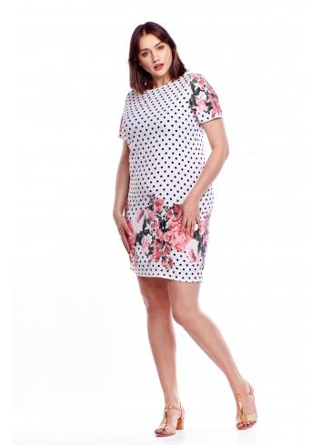 Ołówkowa sukienka w groszki z kwiatowym wzorem Plus Size