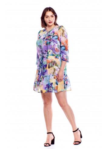 Wzorzysta sukienka z wiązanym troczkiem Plus Size