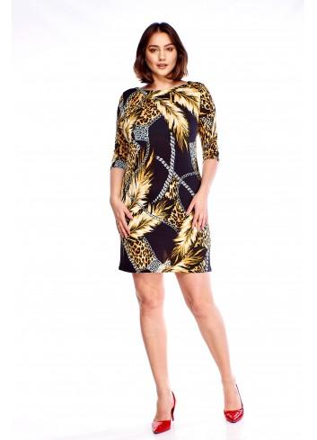Wzorzysta sukienka z rękawem 3/4 Plus Size